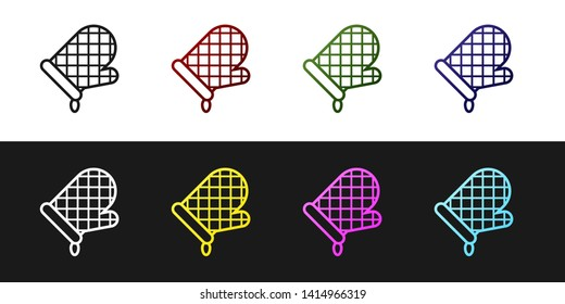 Set Oven glove icon isolated on black and white background. Kitchen potholder sign. Cooking glove. Vector Illustration