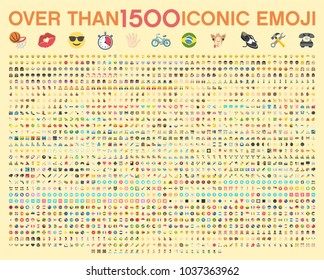 Set of over than 1500 emoji, vector illustration icons. Human, sport, transportation, flags of the world, wear, food, time, horoscope, tools, emoticons. Set of 1500 Minimalistic Solid Line Colored