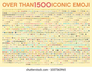 Set of over than 1500 emoji, vector illustration icons. Human, sport, transportation, dancing, flags of the world, wear, emotions, food, time, horoscope, tools, emoticons. Isolated Vector Elements