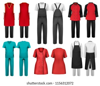 Set of overalls with worker and shefcooks and medical clothes. Design template. Vector illustration.