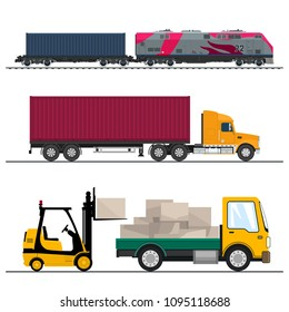 Set of Overland Freight Transport, Truck and Small Lorry with Boxes and Forklift Truck, Locomotive with Cargo Container , Shipping and Freight of Goods, Vector Illustration