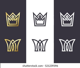 Set of overlapping line and monoline crowns. Pack of vector isolated symbols and emblems.