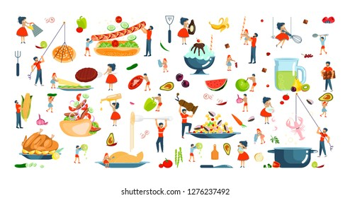 Set of oversize dish and tiny people characters family on cooking master class concept. Vector illustration eps