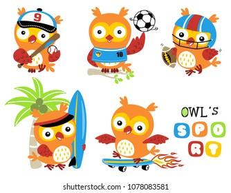 set of owl cartoon vector in sport action