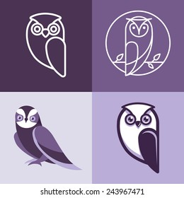 Set of owl logos and emblems - design elements for schools and educational signs