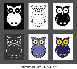 Set of owl logos. Line flat vector.