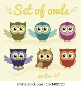 Set of owls. Collection of vector birds. Print for children, baby.