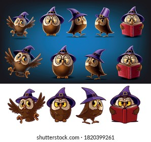 set of owls for halloween