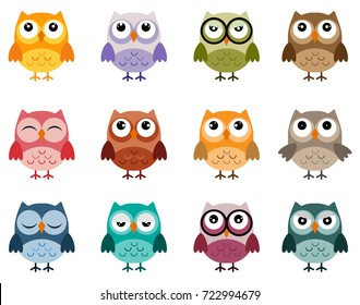 Set of owls in  soft vintage colours, different characters, owl vectors