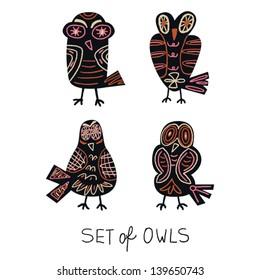 set of owls vector illustration