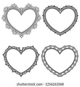 Set paattern in form of heart for Henna, Mehndi, tattoo, decoration - frame. Decorative ornament in ethnic oriental style, Indian style. Coloring book page.