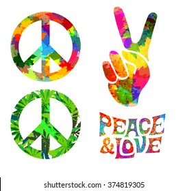 set of Pacific hippie symbol and words Pease and Love