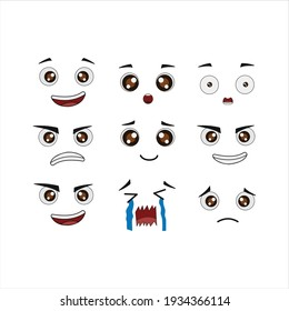 Set Pack EXPRESSION VECTOR digital design graphic 2d HD illustration HAPPY EXCITED TOUCHED AFFECTED CRY SAD PROUD ANGRY CONFIDENCE
