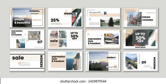 Set of pack Original Presentation templates or corporate booklet. Easy Use in creative flat flyer and style editable info banner, trendy strategy mockups, app. Simple modern blog. Startup. ppt. a4