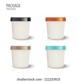 set Package cup ice cream design vector illustration