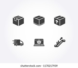 Set of Package, Online delivery and Delivery box icons. Parcel, Escalator signs. Parcel tracking website, Cargo package, Express service. Shipping box, Elevator.  Quality design elements. Vector