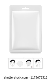Set of package sachet with cosmetic mask. Vector illustration isolated on white background. Can be used for medical, cosmetic and hygiene. EPS10.