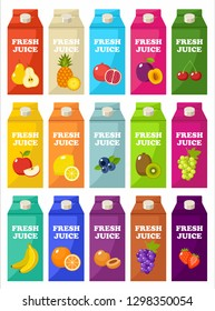 Set of packages of fruit juice. Vector illustration