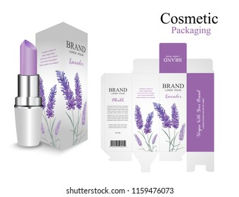 Set packaging box lipstick design.Lavender purple cosmetic. Hydrating facial lipstick and box for annual sale, festival sale or your brand.Flower purple watercolor paint luxury and beauty.