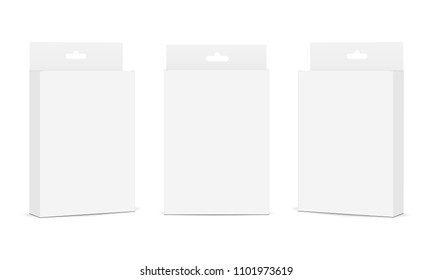 Set of packaging boxes with hang tab isolated on white background. Vector illustration