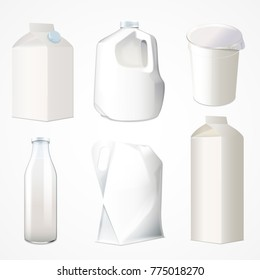 Set of packaging for milk kefir sour cream drinking yogurt and juice. Cardboard, plastics, glass package. Vector illustration