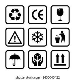 set of packaging product icon vector symbol