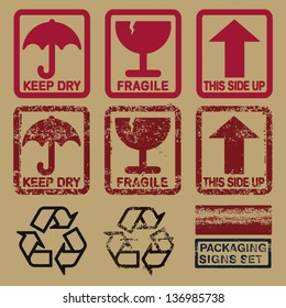set of packaging signs in plain and grunge skin
