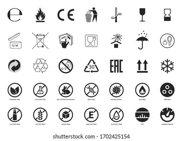 Set of Packaging Symbols. Handbook general symbols. Gluten, Lactose, GMO, Paraben, Silicone , SLS, Sugar free, Food additive, Not Tested on Animals, Antibacterial, Protein, Fat Carbohydrate icons. - Shutterstock ID 1702425154