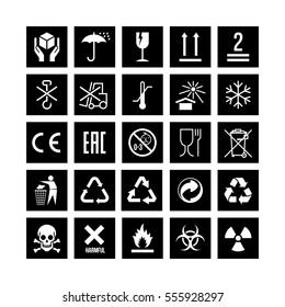 Set of packaging symbols on black background