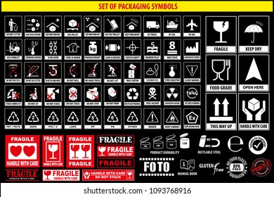 Set of packaging symbols, tableware, plastic, fragile symbols, cardboard symbols.(this side up, handle with care, fragile, keep dry, keep away from direct sunlight, do not drop, do not litter)
