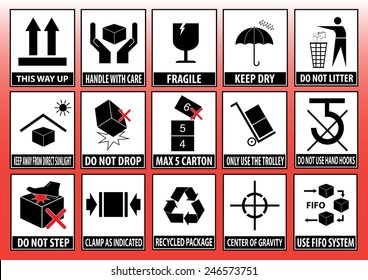 Set Of Packaging Symbols (this side up, handle with care, fragile, keep dry, keep away from direct sunlight, do not drop, do not litter, use only the trolley, use fifo system, max carton, recyclable).