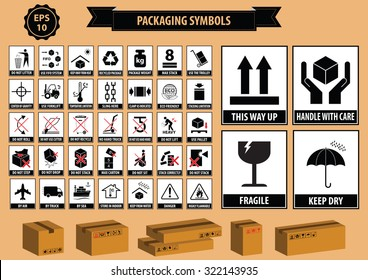 Set Of Packaging Symbols (this side up, handle with care, fragile, keep dry, keep away from direct sunlight, do not drop, do not litter, use only the trolley, use fifo system, max carton, recyclable)