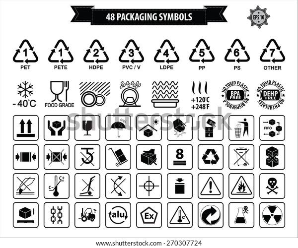 Conjunto De Símbolos De Embalaje Este Lado Arriba Manipular Con Cuidado Frágil Secar Mantenerse Alejado De