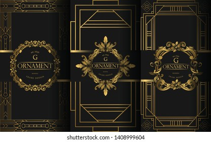 Set of Packaging Templates with Design Element Ornament, Label, Logo. Made with Golden Luxury Flower on Ornament Background. Suitable for Poster, Logo, Invitation and Luxury Concept.