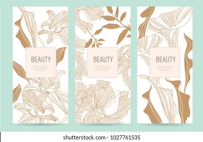 A set of packaging templates with gold flowers for luxury products. Design template of leaflet cover, flayer, card for the hotel, beauty salon, spa,restaurant. Vector illustration in Japanese style