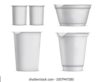 A set of packaging for yogurt, cream, mousse. Vector food and drink plastic container set. White blank plastic cup for dessert.