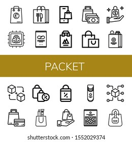 Set of packet icons. Such as Shopping bag, Chip, Crisps, Packet , packet icons