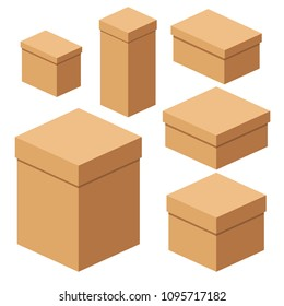 Set of packing craft boxes. Flat vector cartoon illustration. Objects isolated on a white background.