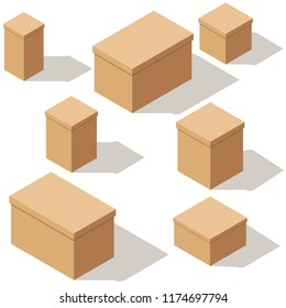 4662fa87c78 Set of packing craft cardboard boxes. Isometric vector cartoon  illustration. Isolated on a white