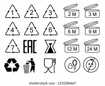 A set of packing symbol icons