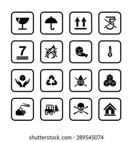 Set of packing symbols icon for box on white background vector illustration eps 10