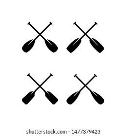 Set of paddle icon, logo. Cross paddle logo design