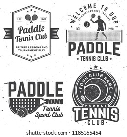 Set of Paddle tennis badge, emblem or sign. Vector illustration. Concept for shirt, print, stamp or tee. Vintage typography design with paddle tennis racket, visor and paddle ball silhouette.