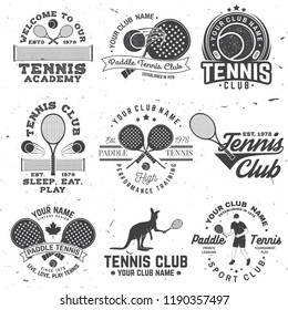 Set of Paddle tennis and tennis badge, emblem or sign. Vector. Concept for shirt, print, stamp or tee. Vintage typography design with paddle tennis racket, visor and paddle ball silhouette.