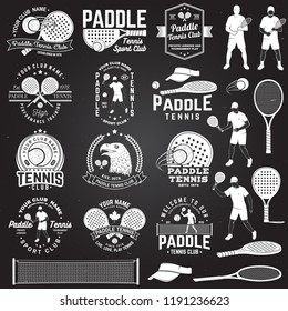Set of Paddle tennis badge, emblem or sign with design element. Vector. Concept for shirt, print, stamp or tee. Vintage typography design with paddle tennis racket, visor and paddle ball silhouette.