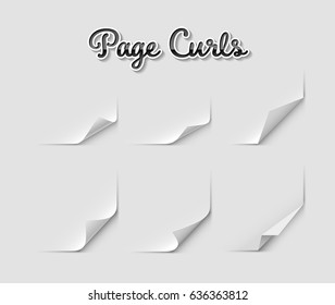 Set of page curls, eps10 vector