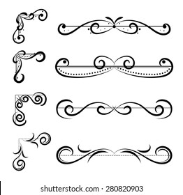 Set of page decoration line drawing design elements vintage dividers in black color. Vector illustration. Isolated on white background. Can use for birthday card, wedding invitations.