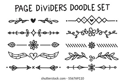 Set of page divider in doodle style
