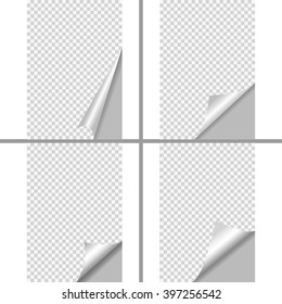 Set of Pages curl with shadow on blank sheet of paper. White paper sticker. Element for advertising and promotional message isolated on transparent background.