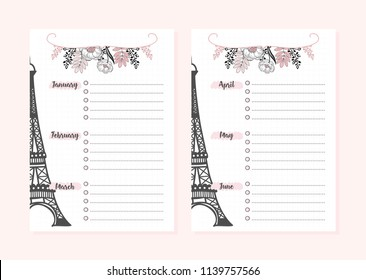 Set of pages for monthly planner for study or work.Backgrounds and inscriptions. Vector illustration